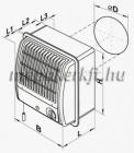 Vents 100 CF TH turbo radiál fali elszívóventilátor Páraérzékelő időkapcsoló